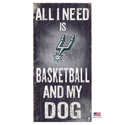 San Antonio Spurs Distressed Basketball And My Dog Sign