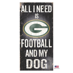 Green Bay Packers Distressed Football And My Dog Sign