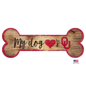 Oklahoma Sooners Distressed Dog Bone Wooden Sign