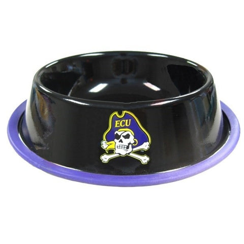 East Carolina Pirates Gloss Black Pet Bowl