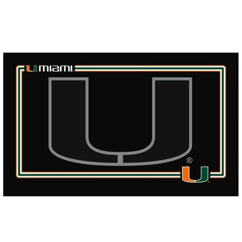 Miami Hurricanes Black Pet Bowl Mat