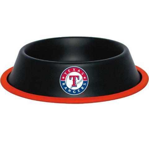 Texas Rangers Gloss Black Pet Bowl