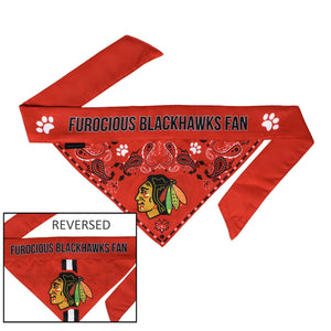 Chicago Blackhawks Pet Reversible Paisley Bandana