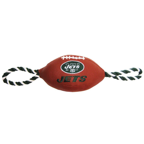 New York Jets Pebble Grain Football Dog Toy