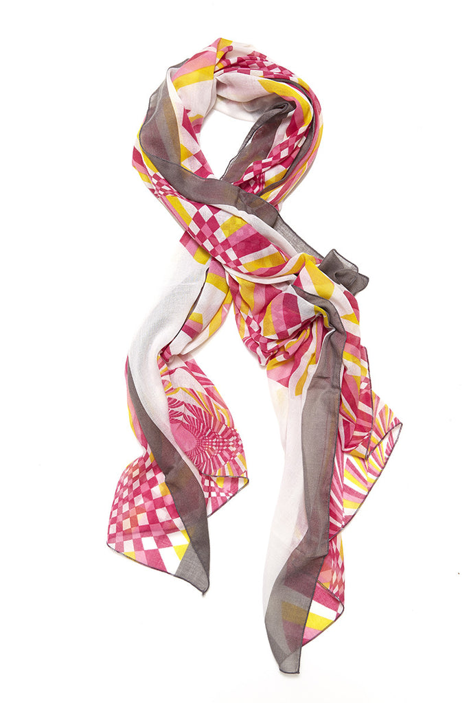 Gina Tile Scarf Sunset Coral Pink