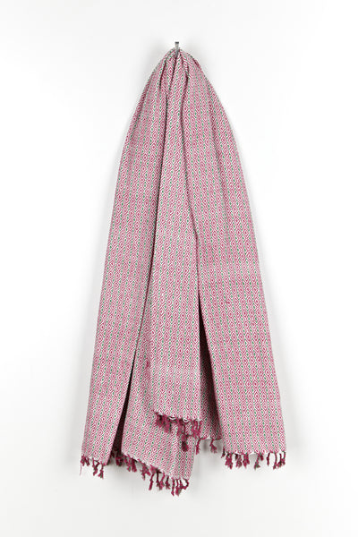 Geometric Cotton Woven Throw Rose Pink