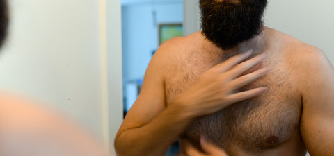 How to apply beard oil_step 5_rub excess into chest hair