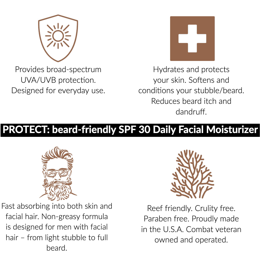 Protect: Daily SPF 30 facial moisturizer for men with beards - sunscreen | reef friendly