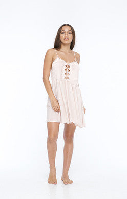 INDAH Vivid Printed Lace Up Front Mini Dress | Nude Blur
