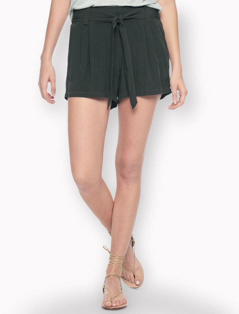 Splendid Rayon Voile Pleated Shorts | Military Olive