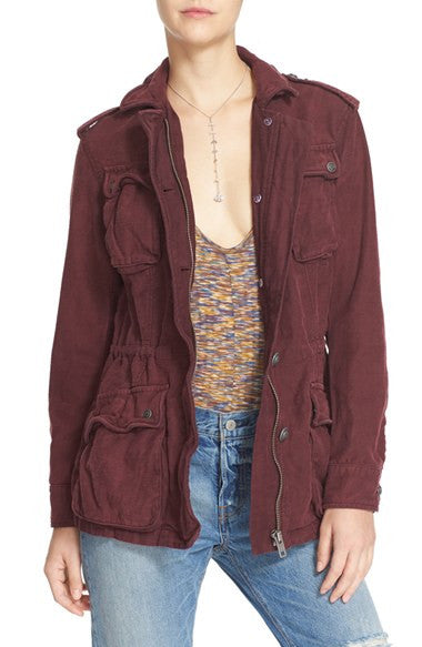 MOJO MEDICINE ONE OF A KIND MALIBU JACKET| Free People Not Your Brother's Surplus Jacket | Wine XS