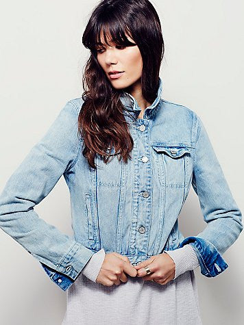 ONE OF A KIND Ocean Angel Patchwork Denim Jacket (Free People MEDIUM)