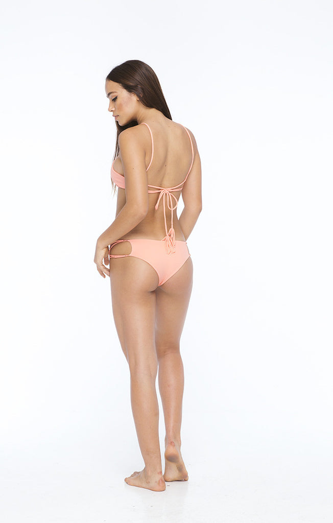 INDAH Hapa Lace Up Bikini Top | Grapefruit