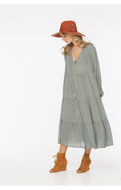 Indah Belladon Belladonna Long Sleeve Tiered Tea Length Dress | SALE