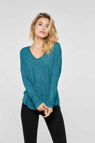 Project Social T Anouk V-Neck Long Sleeve Tee | Empress Jade