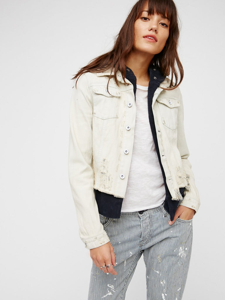 Free People Double Weave Denim Jacket | White Liberty Wash
