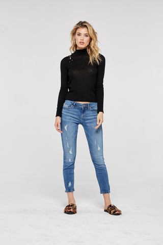 Project Social T Sweet Thing Lace Up Top | Black