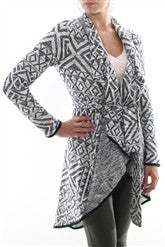 Michael Stars Jacquard Cardigan Jacket | Black/White | SALE