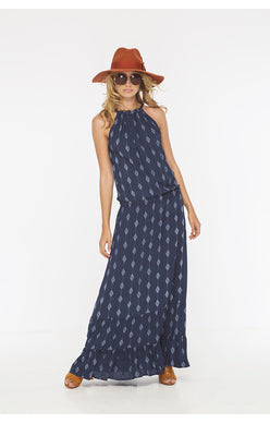 Indah Summer Printed Halter Maxi Dress | Indigo/Diamond