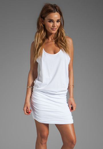 Michael Stars Scoop Neck Racerback Shirred Dress