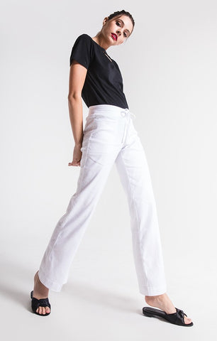 Level 99 Violette High Rise Linen Wide Leg Lounge Pant | Optic White
