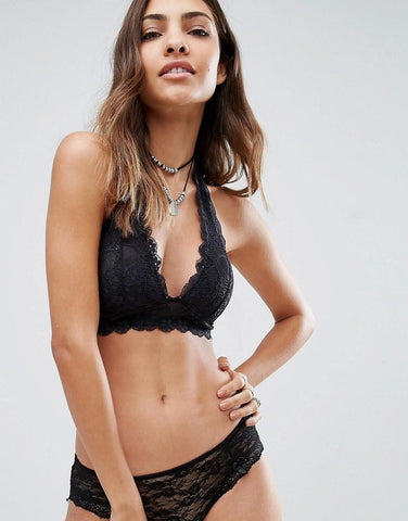 Free People Intimately Galloon Lace Halter Bra | Black