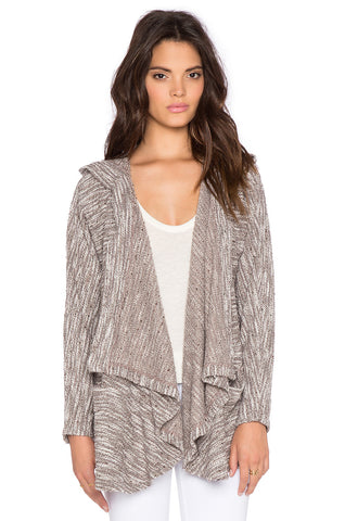 Bobi Boucle Hooded Open Front Cardigan | Tan | Sale