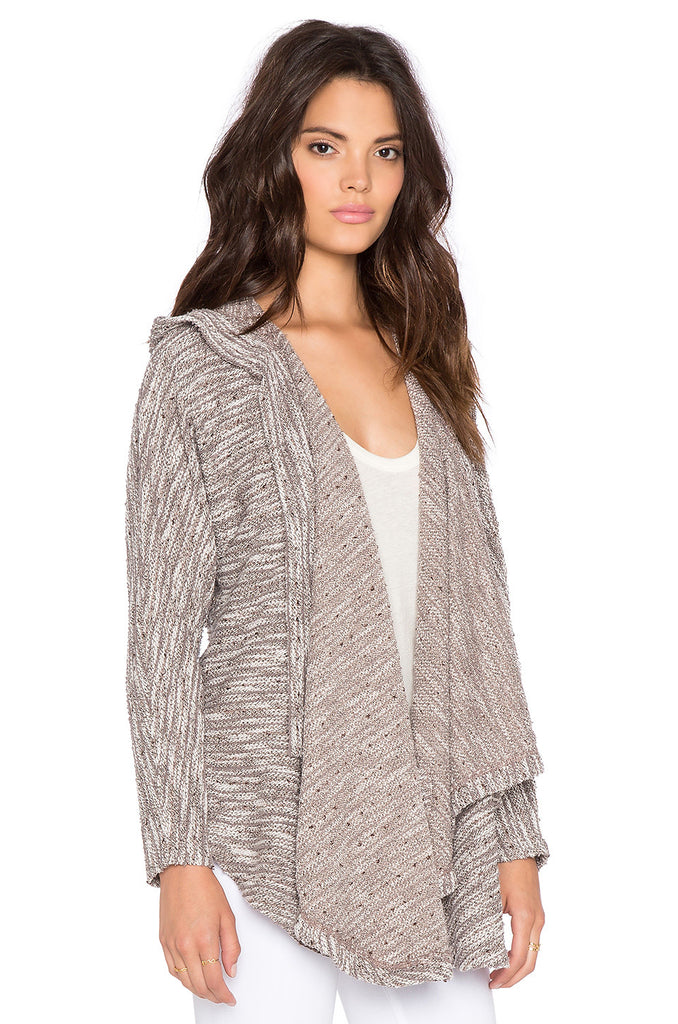 Bobi Boucle Hooded Open Front Cardigan | Tan