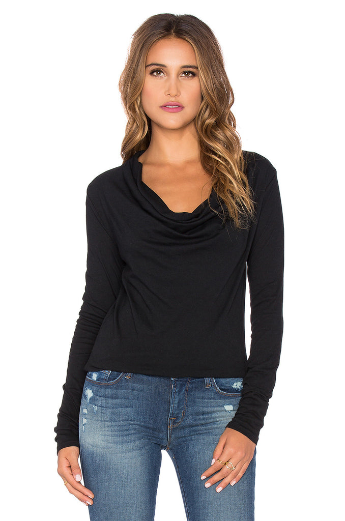 Bobi Long Sleeve Drape Neck Top
