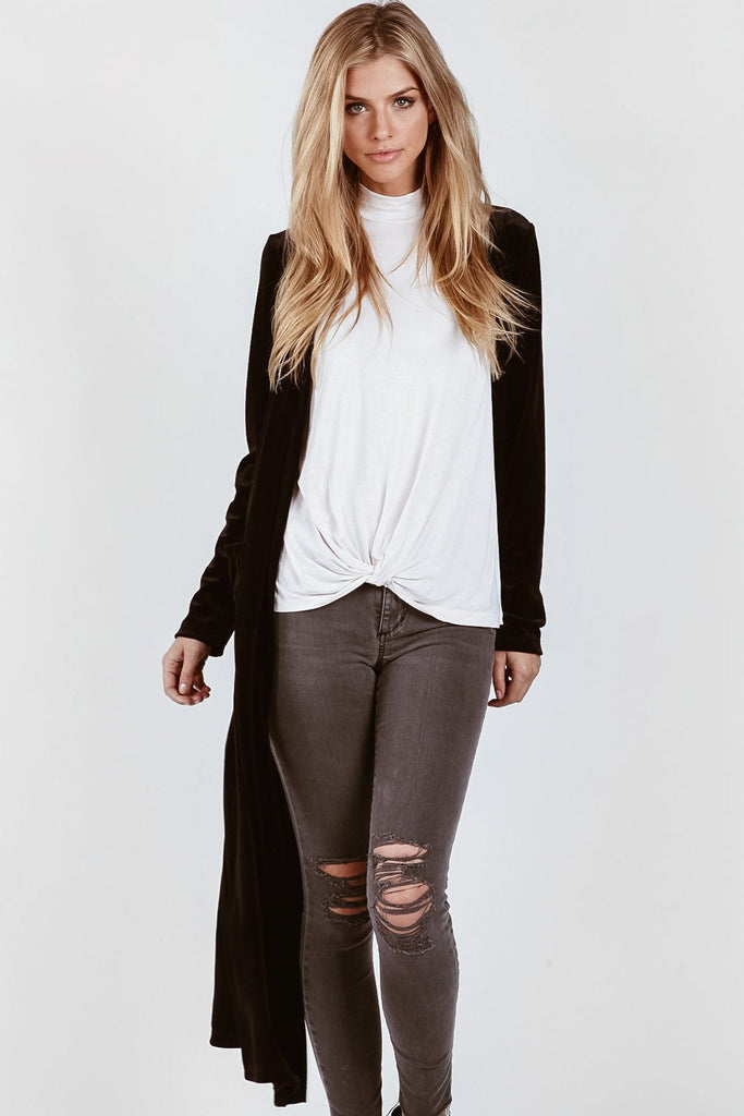 On The Road Erica Velvet Cardigan | Black Suede
