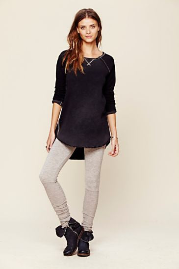 Free People Heather Knit Legging With Rib Scrunchy Ankle Detail | Pinnacle Malibu