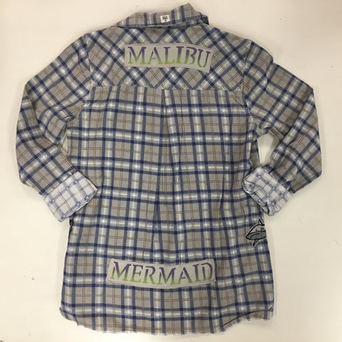 ONE OF A KIND Malibu Mermaid Flannel MOJO MEDICINE by: Lydia's Lyds