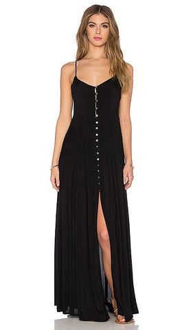 Indah Uma Pleat & Button Maxi Dress | Black | Venice | SALE