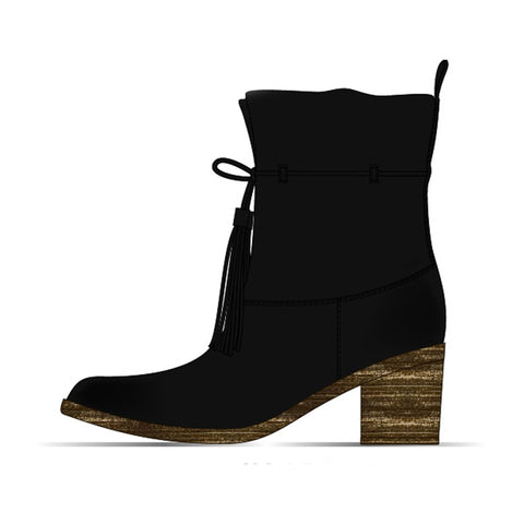 Billabong Monroe Vegan Suede Tassel Boot | Off Black