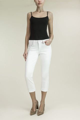 Level 99 Lily Mid Rise Crop Rollup Jean | Anthurium White