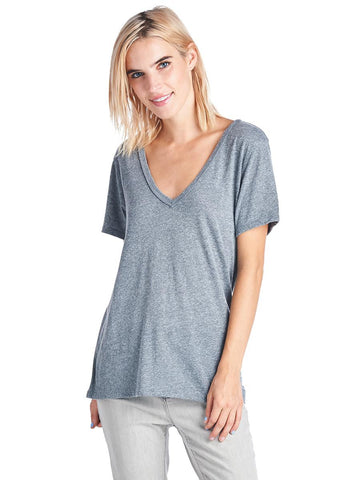 NATION LTD Aidan Deep V Neck Tee | Heather Grey