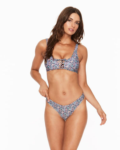 L*Space Liberty J'Adore Romi Lace Up Bikini Top | Navy