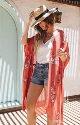 Gentle Fawn Lumiere Wrap Kimono | Sketch Rose of Sharon, White Alyssum Sketch