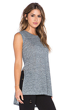 Michael Stars Linen Tank With Side Slits | Charcoal