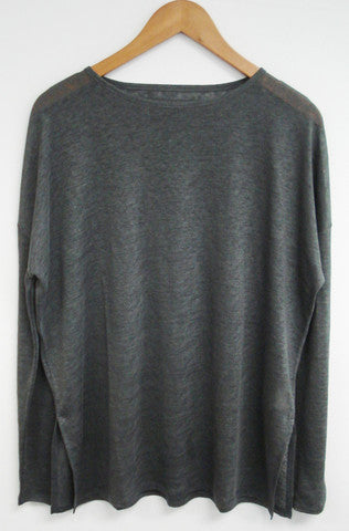 Nanavatee Linen Long Sleeve T-Shirt | Charcoal