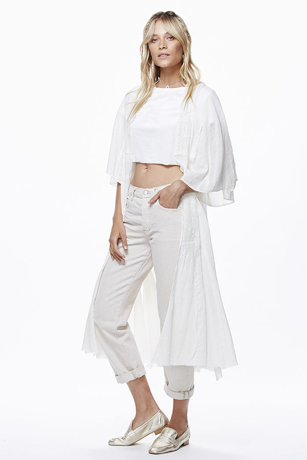 Free People Curved Gauze Duster | Ivory