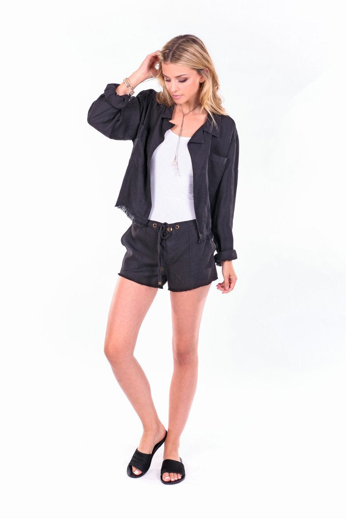 On The Road Sam Cropped Tencel Jacket | Black, Palm