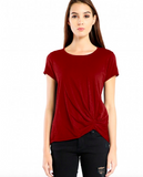 Michael Stars Supima Cotton Slub Tee w/ Pleat Detail | Bourbon