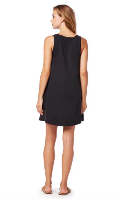 Michael Stars Tencel Tank V-Neck Dress | Black
