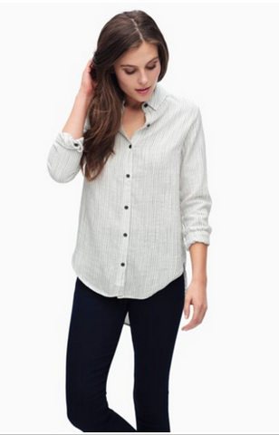 Splendid Marina Pinstripe Button Down Tunic | Natural | SALE