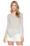 Splendid Winward Stripe Surplice Top | Heather Grey/White