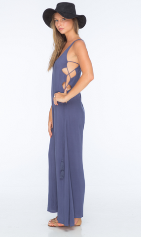 Indah Wander Lace Up Side Jumpsuit | Denim Blue | SALE