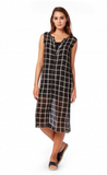 Michael Stars Plaid Mesh Tank Button Down Midi Dress | Black/Chalk
