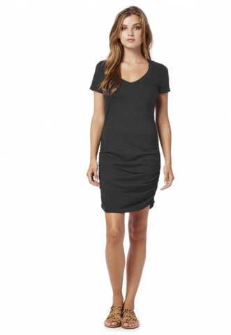 Michael Stars Cotton Lycra V Neck Ruched Side Mini Dress