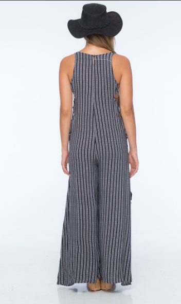 Indah Wander Lace Up Side Jumpsuit | Black Nobel | SALE